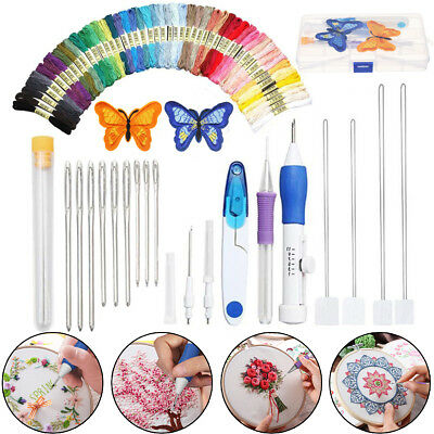 71 IN 1 Magic DIY Embroidery Pen Knitting Sewing Tool Punch Needle + 50 Threads