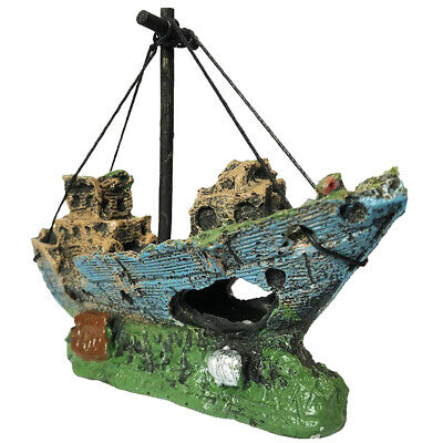 Ornament Aquarium Sunken Steamboat Fish Sailing Boat Ship Wreck Fish Tank Cave