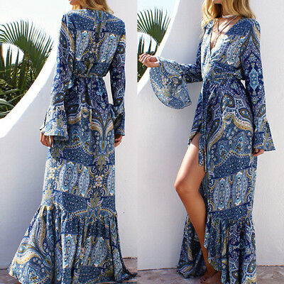ZANZEA 8-22 Women Plus Size Flare A-Line Long Maxi Sundress Floral Wrap Dress