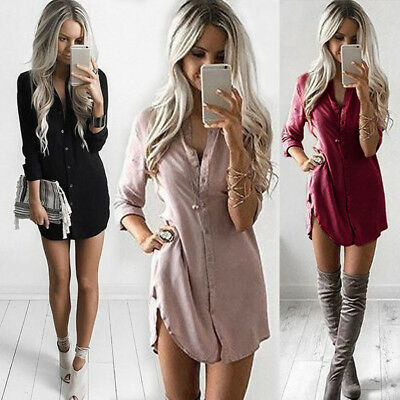 Womens Blouse Chiffon Long Sleeve Ladies Shirt Dress Loose Short Casual Tops