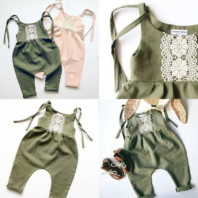 Newborn Baby Girl Infant Flower Embroidery Strap Jumpsuit Bodysuit Outfit B