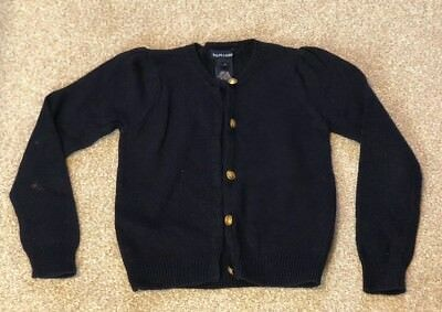 Ralph Lauren Navy Wool Cardigan High Quality Classic Gold Button  6 years