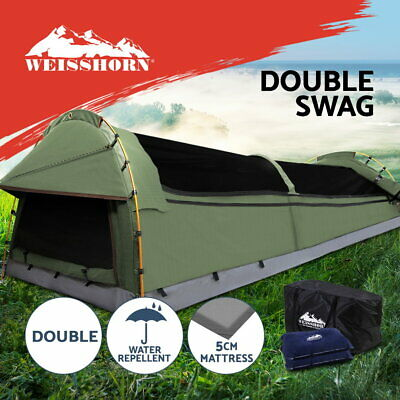 Weisshorn Double Swag Camping Swags Canvas Tent Deluxe Aluminium Poles & Bag
