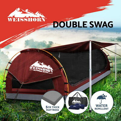 WEISSHORN Double Camping Swags Canvas Free Standing Dome Tent Bag Red