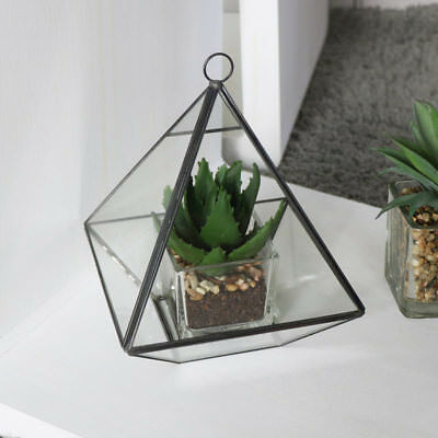 Black Pyramid Style Terrarium Plant Gift Home Vase Indoor Flower Pot Decoration