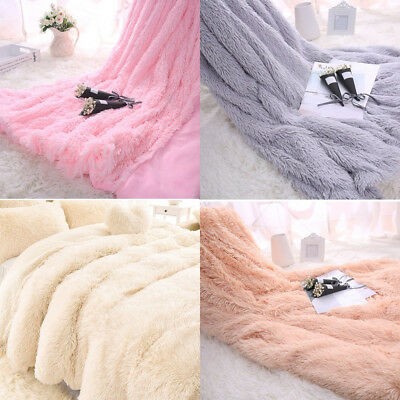 Baby Kids Faux Fluffy Fur Long Pile Warm Shaggy Blanket Throw Cover Bed Bedding