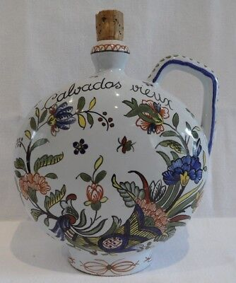 Antique French Faience Pottery Calvados Vieux Bottle Urn Hand Painted Floral