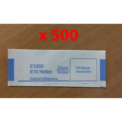 500x £10 UK Currency Bank Note Money Bands For £1000 In £10 Sterling Blue V4FD#