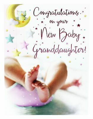 NEW BABY GIRL Granddaughter Congratulations Card Envelope Seal