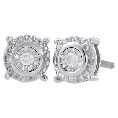 .925 Sterling Silver Diamond Circle Studs Halo Small 6.40mm Earrings 0.05 Ct.