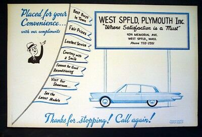 WEST SPRINGFIELD, MASS. 1950-60s CHRYSLER PLYMOUTH AUTO DEALER ADVERTISING SIGN