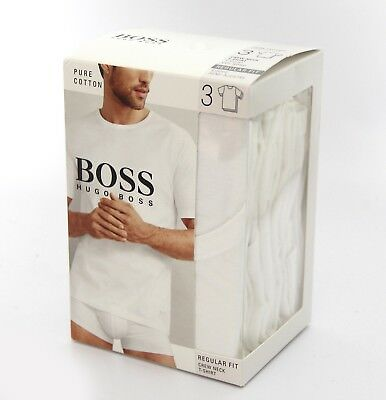 Pack of 3 Hugo Boss Pure cotton white T-shirts Crew Neck Regular fit size large