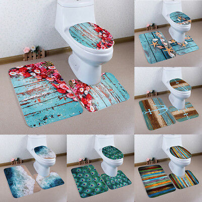 KQ_ FH- 3Pcs Bathroom Non-Slip Anchor Pedestal Rug Toilet Lid Cover Bath Mat Set