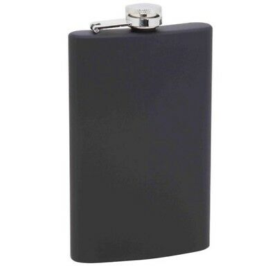 Solid Black Rubber Finish Alcohol 8oz Stainless Steel Flask Screw Pocket Liquor