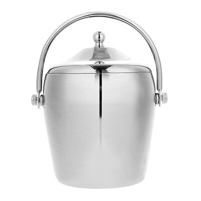 Large Insulated Double Walled Stainless Steel Ice Bucket Tongs & Lid Serving