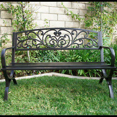 New 50 Inch Outdoor Bench Patio Metal Garden Furniture Deck Porch