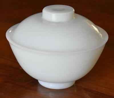 Lovely Chinese Peking Glass Very Light Blue Green Jade Covered Rice Bowl