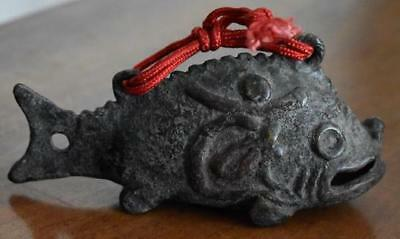 Handsome Antique Chinese Black Iron Or Antique Bronze Fish Shaped Bell