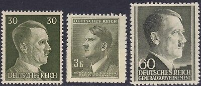 Stamp Selection Germany WWII Fascism AH Head Bohemia GG Poland 30pf 2 MH