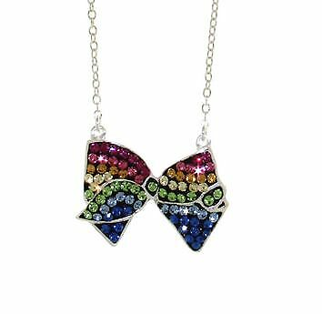 "jojo siwa Stainless Steel Rainbow Crystal Bow Necklace 16"" w2"" exten Nickelodeon"