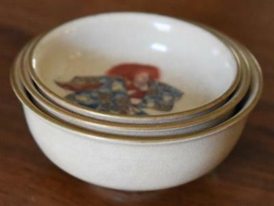 "Antique Chinese Or Japanese Miniature Nesting Set Of Bowls 2 1/4"" - 2 5/8"" Wide"