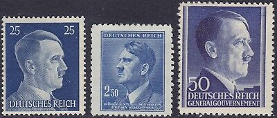 Stamp Selection Germany WWII Fascism AH Head Bohemia GG Poland 25pf 2 MH