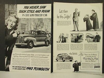 PLYMOUTH - 10 Vintage 1940's Magazine Ads - Sedan, Convertible and Woodie!