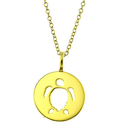 """14k Gold Sterling Silver Open Sea Turtle Round Shape Pendant/Necklace 18"""""""