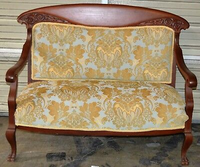 Antique Victorian Style Arch Top Settee Loveseat Bench Damask Blue & Gold