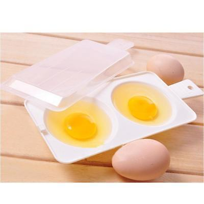Microwave Oven Two Cup Eggs Round-shaped Poacher Cooker Steamer Cook Cookware PW