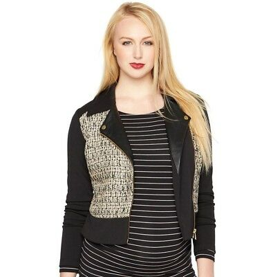 RACHEL ZOE Pea In The Pod - NWT M MATERNITY Black Ponte Metallic Leather Jacket