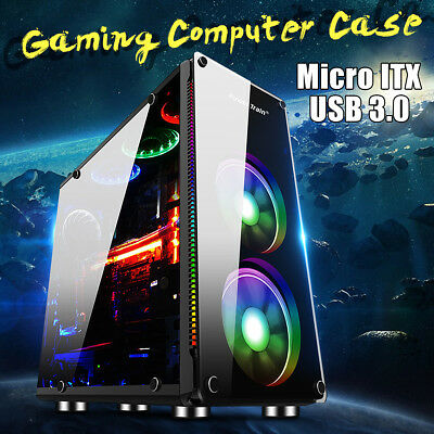 Acrylic Gaming Computer PC Case Mini Tower Liquid Cooling Desktop Micro ATX ITX