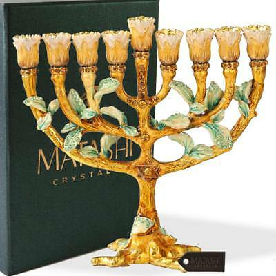 Hand Painted Enamel Menorah Candelabra with a Tree and Flower Buds Design