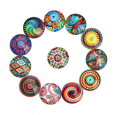 10-25 MM Mixed Patterns Round Glass Cabochon Cameo Pendant Flat Back 20pcs/lot