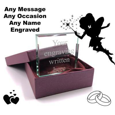 Personalised Glass Block Custom Engraved Any Message J05601