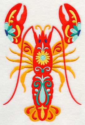 Embroidered Long-Sleeved T-Shirt - Flower Power Lobster M5092 Sizes S - XXL
