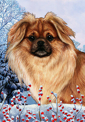 Large Indoor/Outdoor Winter Flag - Sable Tibetan Spaniel 15477