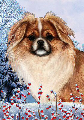 Large Indoor/Outdoor Winter Flag - Parti Tibetan Spaniel 15476
