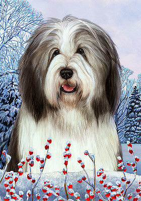 Large Indoor/Outdoor Winter Flag - Blue & White Bearded Collie 15170