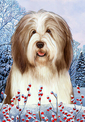 Large Indoor/Outdoor Winter Flag - Brown & White Bearded Collie 15482