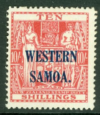 SG 209 Western Samoa 1945-53. 10/- carmine lake. Fine unmounted mint CAT £20