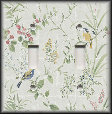 Metal Light Switch Plate Cover - Stone Wall Birds Vines Home Decor Switchplates