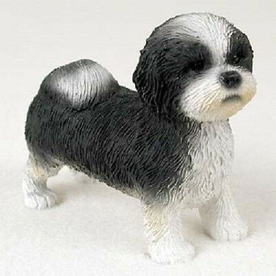 SHIH TZU Dog Figurine COLLECTIBLE Resin B&W Statue BLACK WHITE Puppy Sport Cut