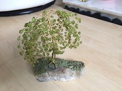 Glass Leaves & Wire Trunk Branches Tree Ornament On Rock Crystal Base
