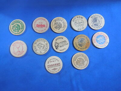 Lot Of 12 Wooden Nickles 2 Sambo's
