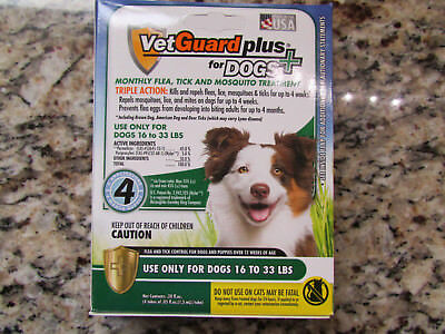 New Vetguard Plus For Dogs Monthly Flea Tick & Mosquito Treatment Dogs 16-33Lbs