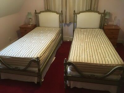 Elegant Pair Of French Antique Single Beds with custom made base and mattresses