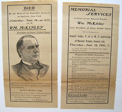 Oxnard California Fabulous 1901 Broadside - Death President McKinley, Masons