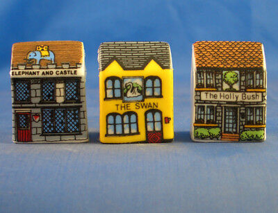 Fine China Thimbles - Set Of Three Miniature House Style -  Town Pubs