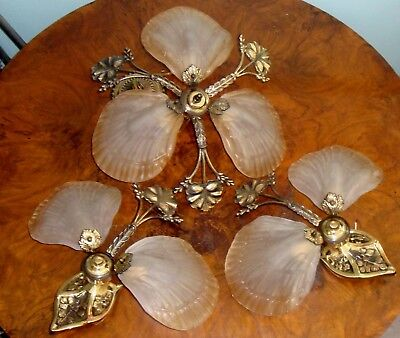 3pc FRENCH ART NOUVEAU DECO CHANDELIER FROSTED SHELL GLASS 2 SCONCE BRONZE BRASS
